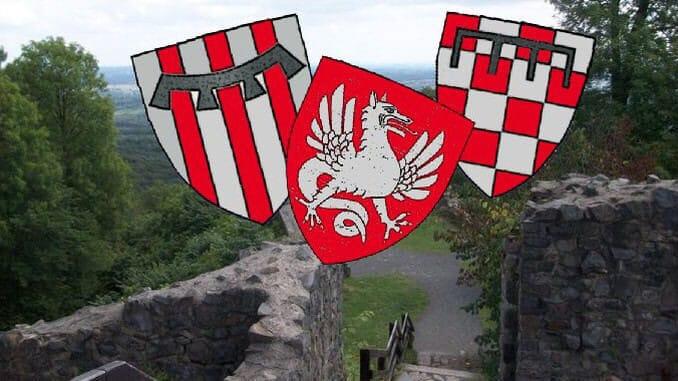 Castillo Löwenberg, blasones Wolkenburg, Drachenfels, Löwenburg